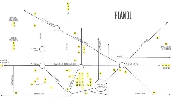Muzea Barcelona mapa